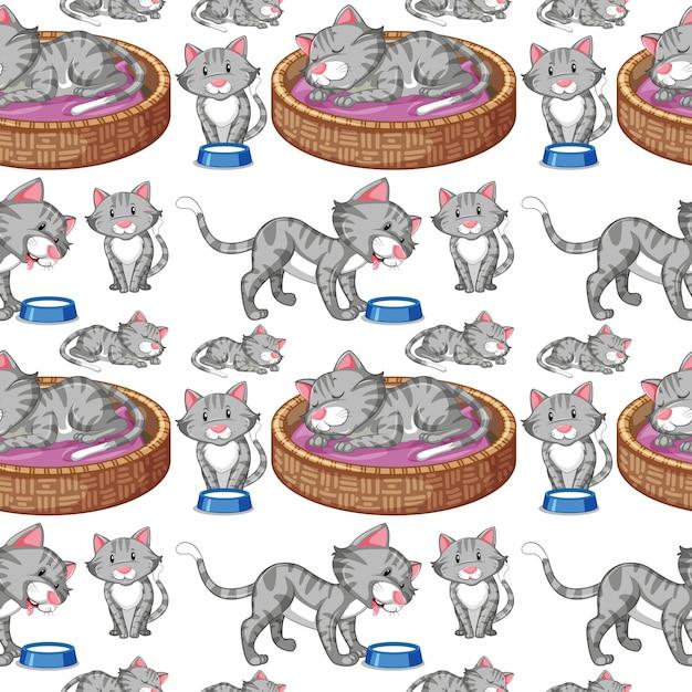 Cat on seamless background Premium Vector