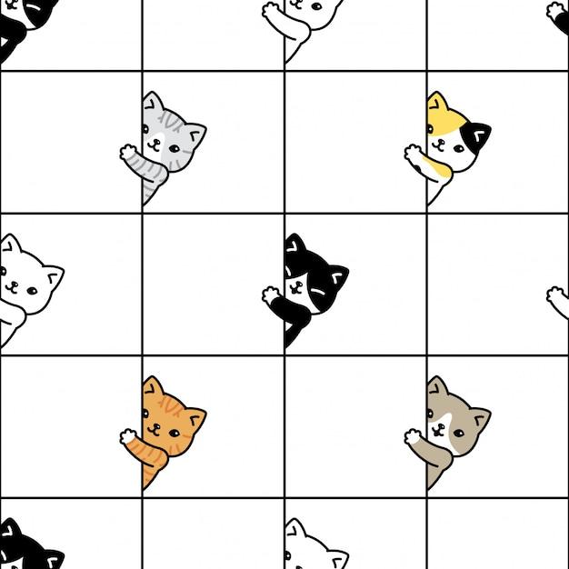 猫のシームレスなパターン子猫三毛猫漫画 Premiumベクター