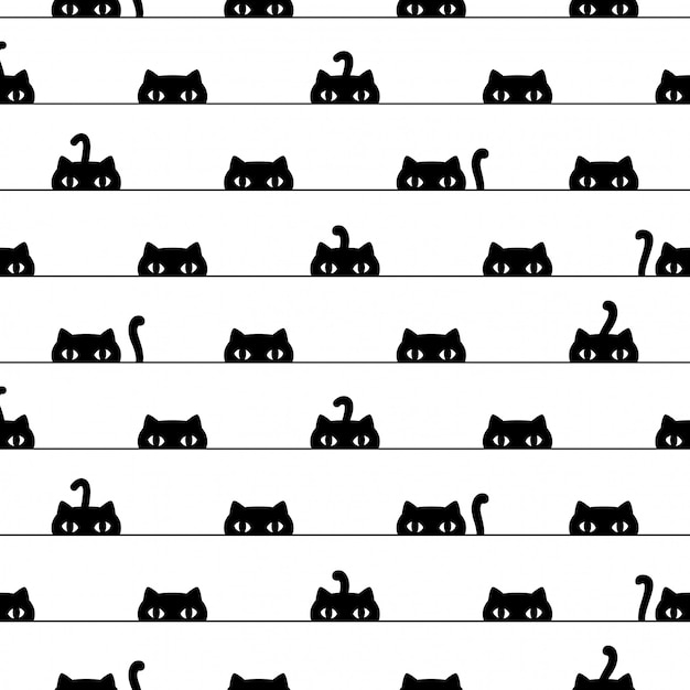 猫のシームレスなパターン子猫漫画ペットイラスト Premiumベクター