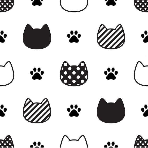 Cat seamless pattern kitten head paw footprint illustration Premium Vector