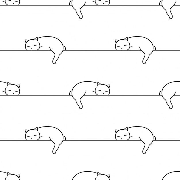 猫のシームレスなパターン子猫漫画イラストを眠っています。 Premiumベクター