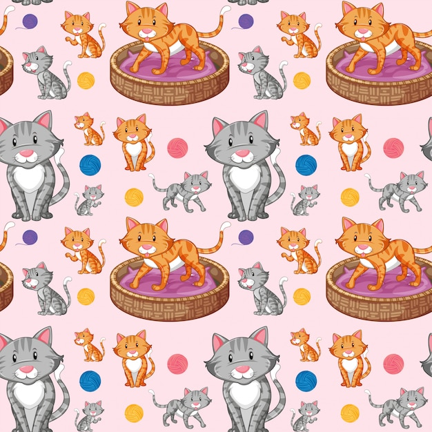 Cat on seamless pattern Free Vector