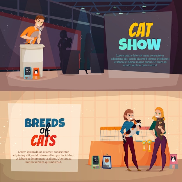 Cat show banners Free Vector