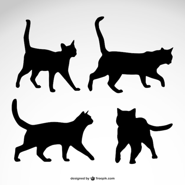 Black cat silhouettes Vector | Free Download