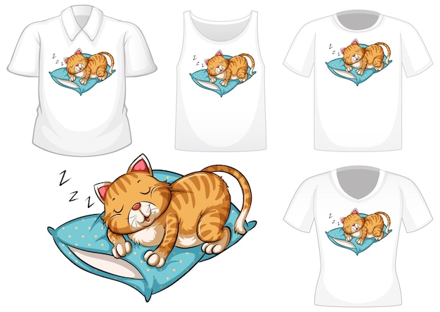 Cat sleeping cartoon character with set of different shirts isolated on white background Free Vector