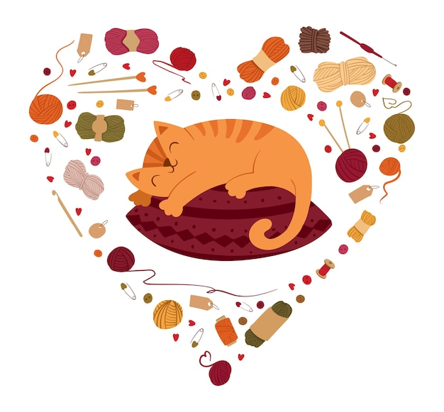 Cat sleeping on pillow in heart shaped frame. autumn coziness, tranquility concept. knitting hobby accessories border. kitty lying on cushion. Premium Vector