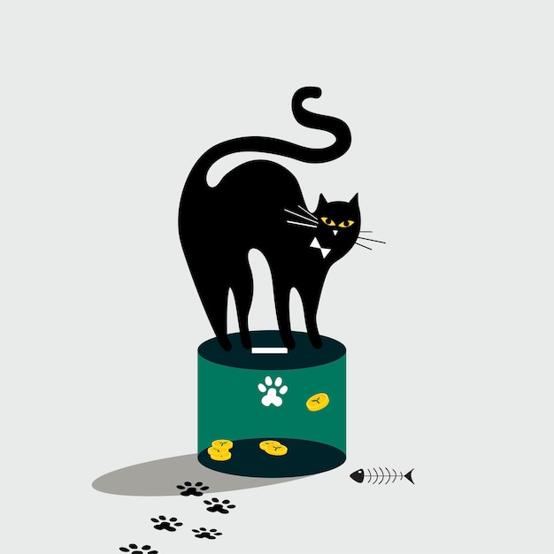Cat standing on the donation box Free Vector