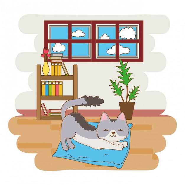Cat stretching on its bed Premium Vector