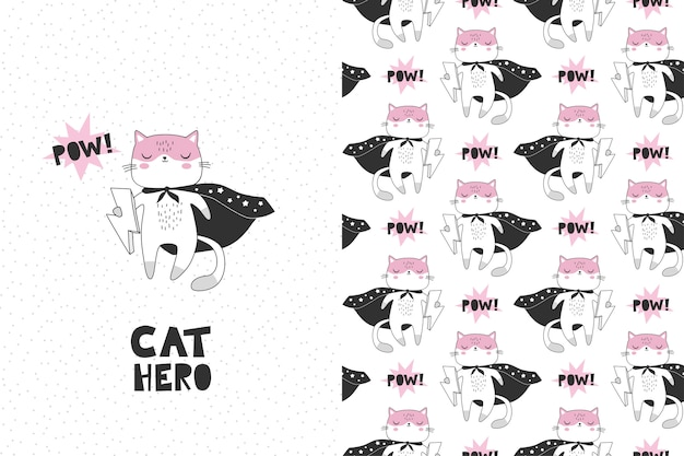 Cat superhero cartoon character. card and seamless pattern Premium Vector