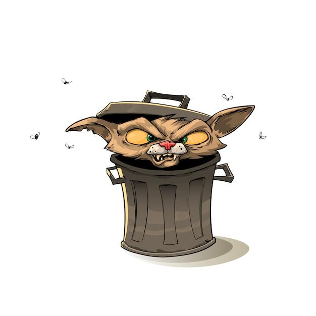 Cat in trash can Premium Vector