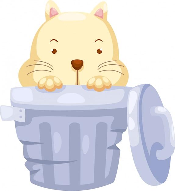 Cat in trashcan illustration Premium Vector