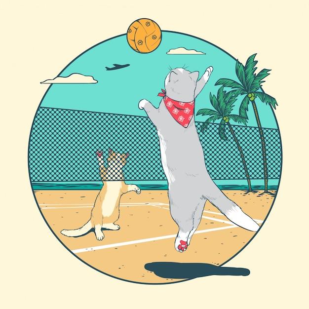 Cat volleyball Premium Vector