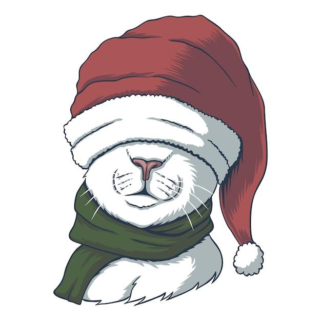 크리스마스 산타 모자를 쓰고 고양이 프리미엄 벡터