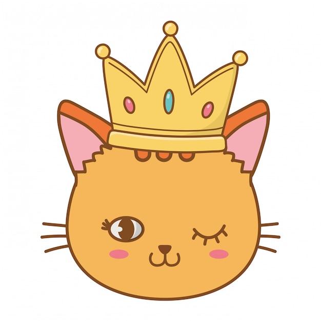 Cat wink eyes with crown Premium Vector