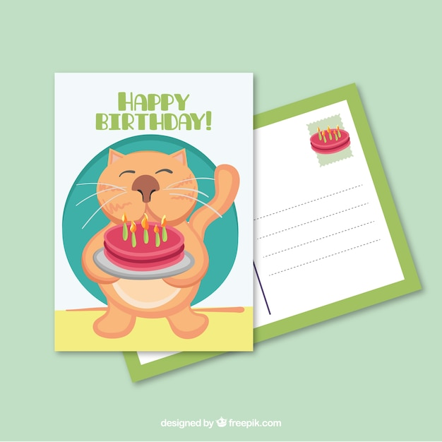 Cat with a cake birthday postcard