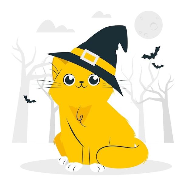 Кошка с иллюстрацией концепции шляпы ведьмы Бесплатные векторы