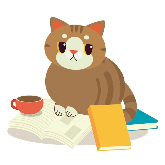 A cat with a book Premium Vector