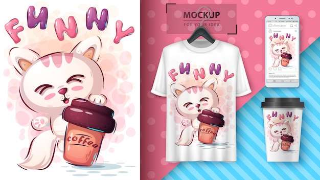 Cat with coffee poster and merchandising Premium Vector