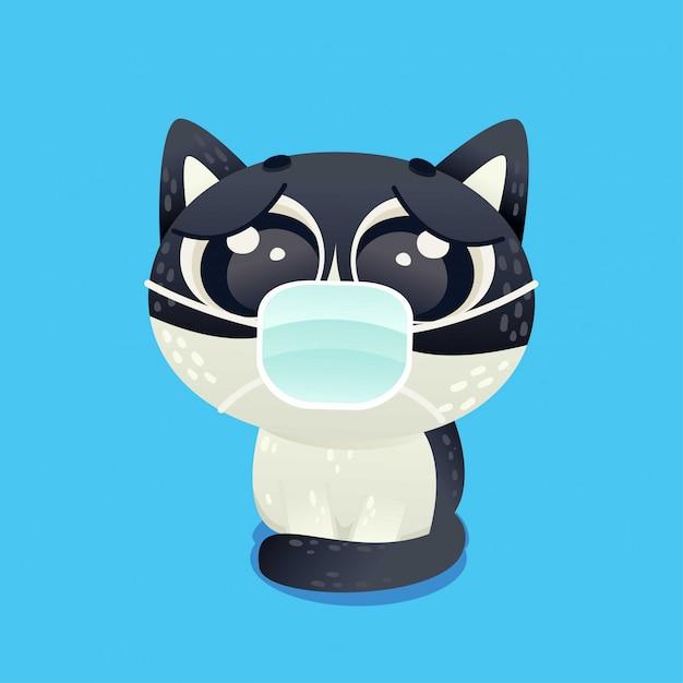 Cat With Face Mask Anti Virus Character Cartoon Doodle