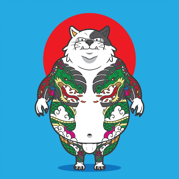 Кот с татуировкой всего тела Premium векторы