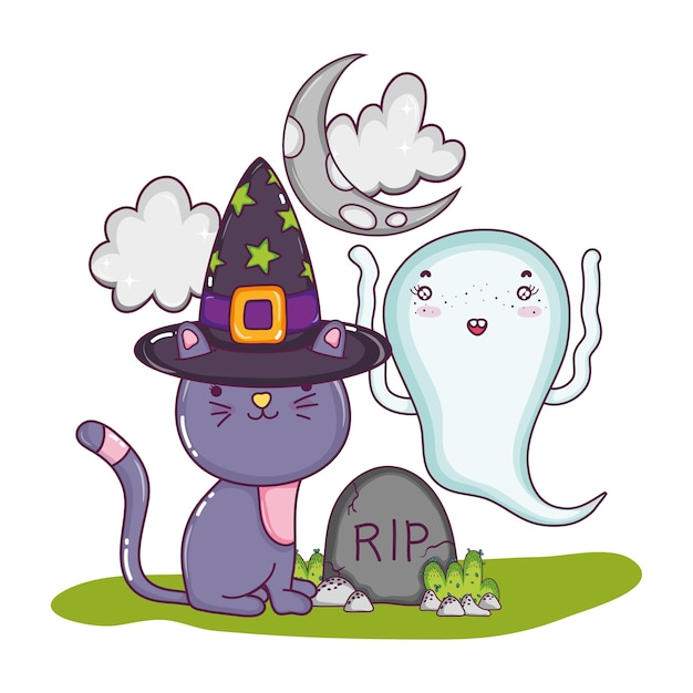 Cat with hat and funny ghost with rip Premium Vector