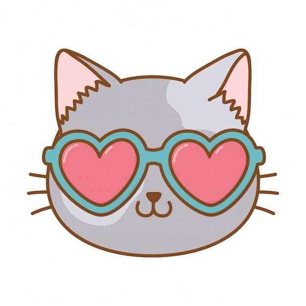 Cat with heart sunglasses Premium Vector