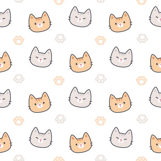 Кошка с лапами след бесшовные модели Premium векторы