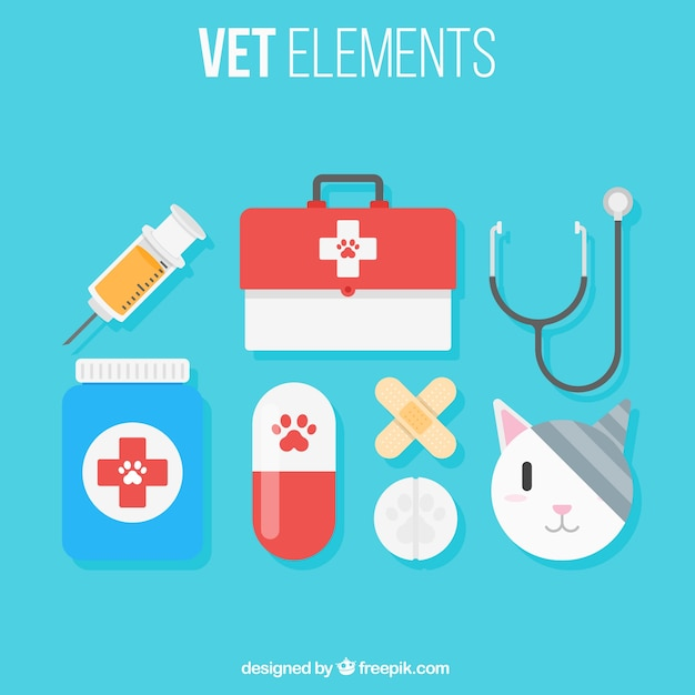 Cat with vet elements Free Vector