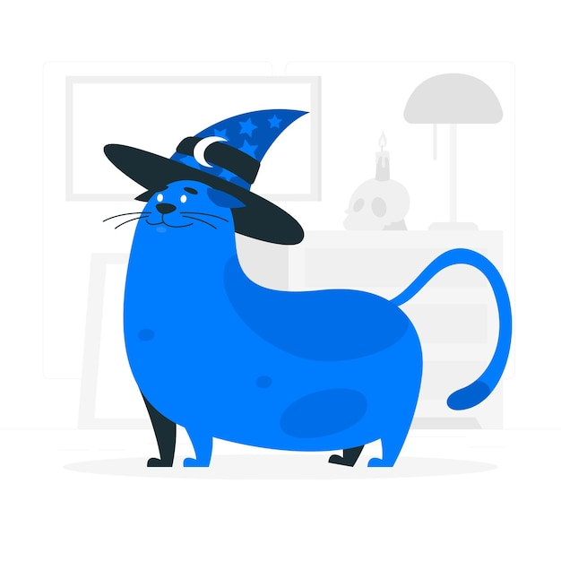 Cat with a witch hat concept illustration Free Vector