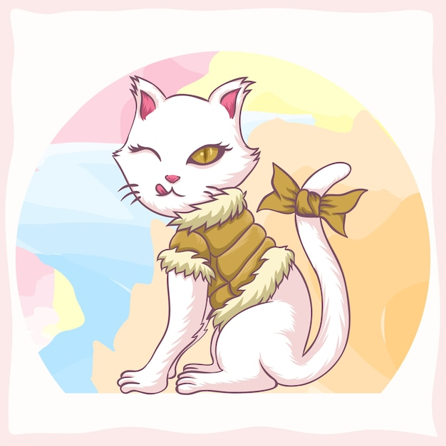 Cat youth girl vector illustration Premium Vector
