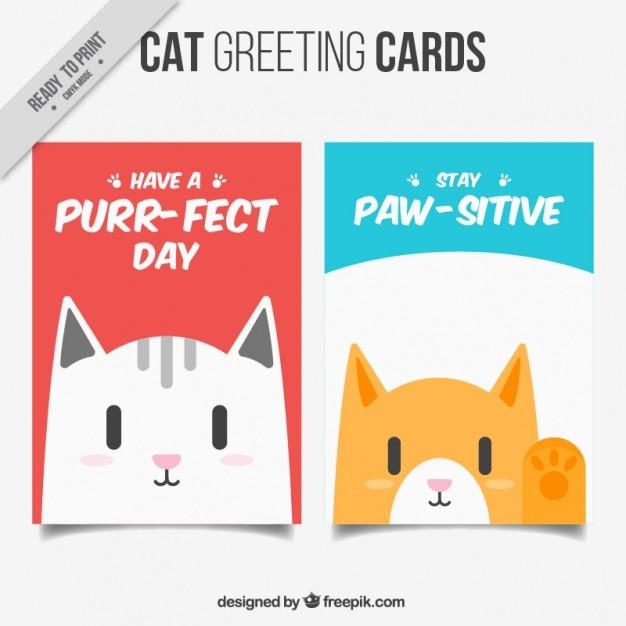 Коллекция открыток cat Бесплатные векторы