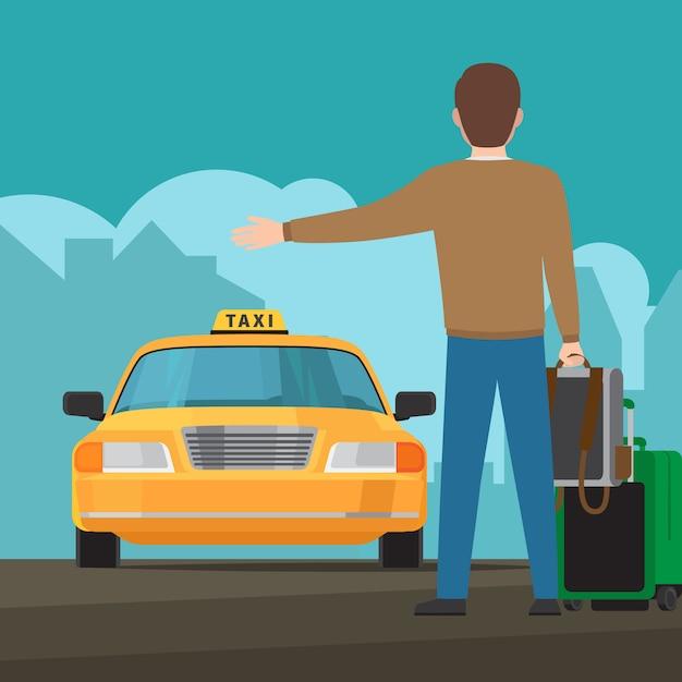 Catch a taxi concept illustration Premium Vector