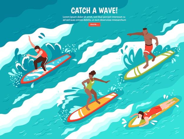 Concetto praticante il surfing dell'onda di cattura Vettore gratuito