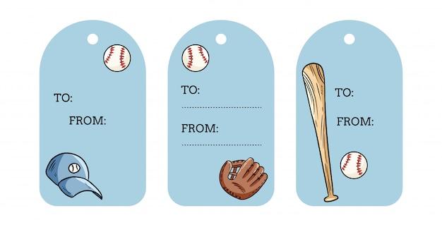 Бейсбол объекты подарочные теги. мяч, летучая мышь, шляпа и перчатка catchig набрасывает этикетки набор рисованной Premium векторы