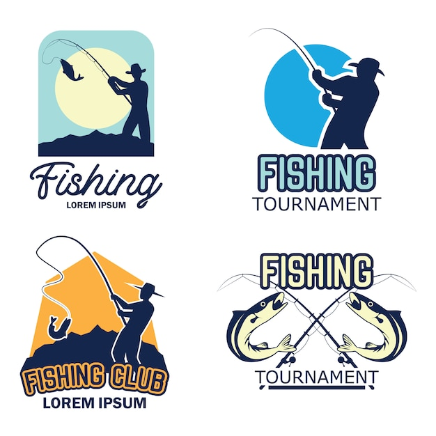 Catching fish logo Premium Vector