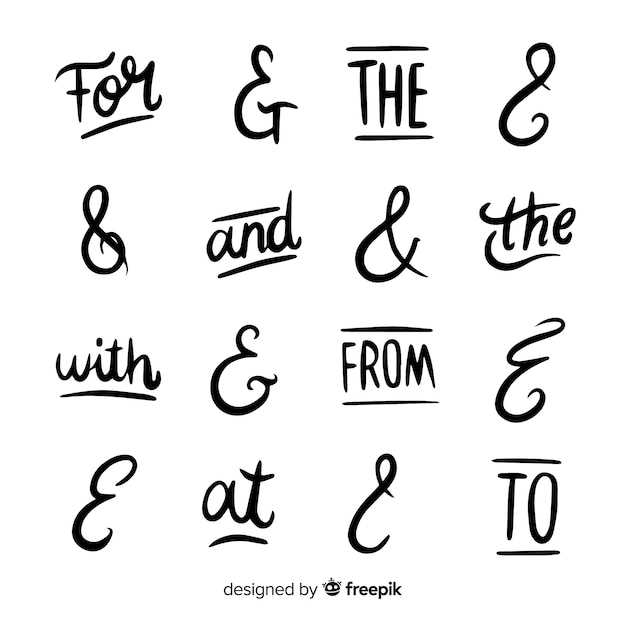 Catchphrases and ampersand collection Free Vector