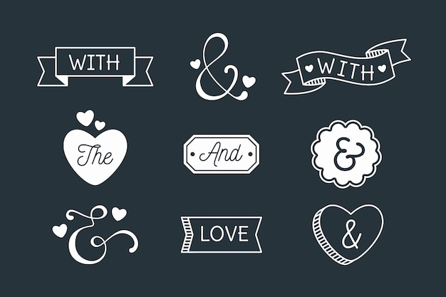 Catchword and ampersand collection on black background Free Vector