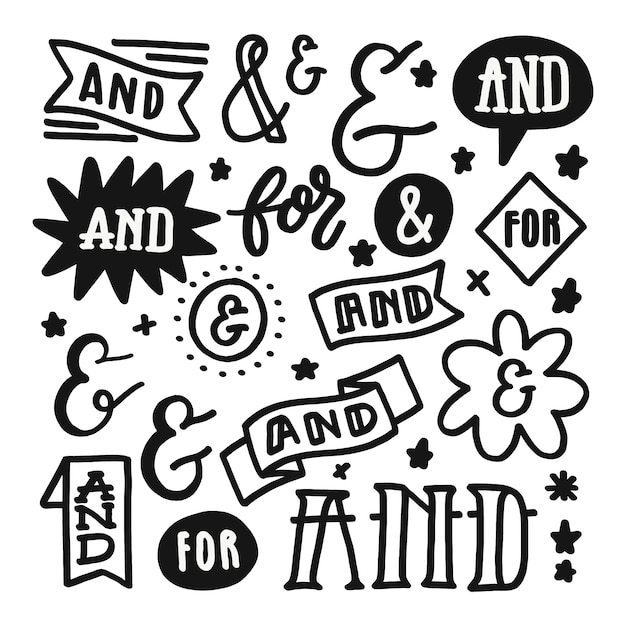 Catchword and ampersand collection Free Vector