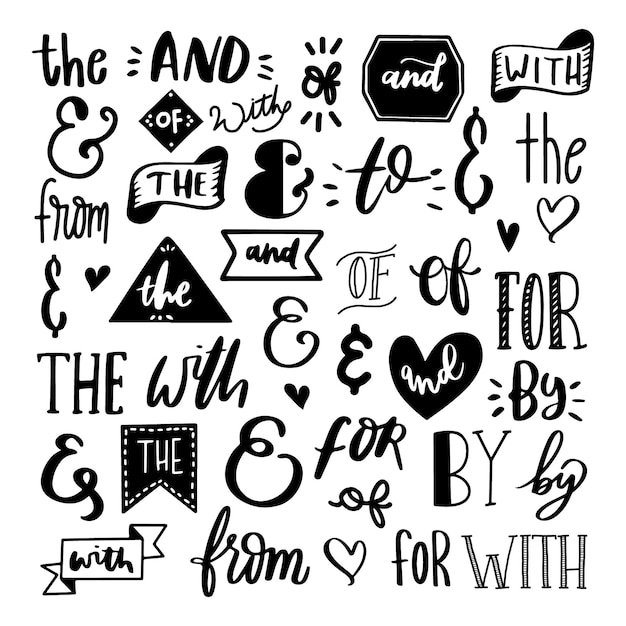 Catchword and ampersand set Free Vector