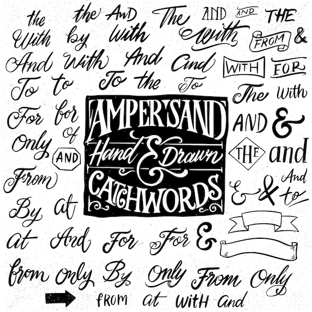 Catchwords and ampersands hand drawn elements Premium Vector
