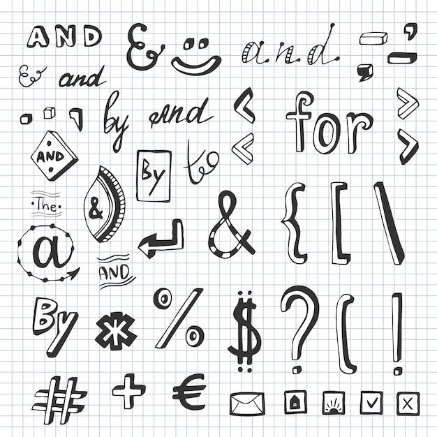 ソーシャルメディアのシンボルとシンボルのドゥーズで手描きのセット。 catchwords and、、、、、、によって。デザイン要素 Premiumベクター