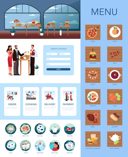 ケータリング広告バナーやウェブサイトセット。ホテルでのフードサービスのアイデア。レストラン、宴会、またはパーティーでのイベント。ケータリングサービスのwebアイコンとインターフェイス。図 Premiumベクター