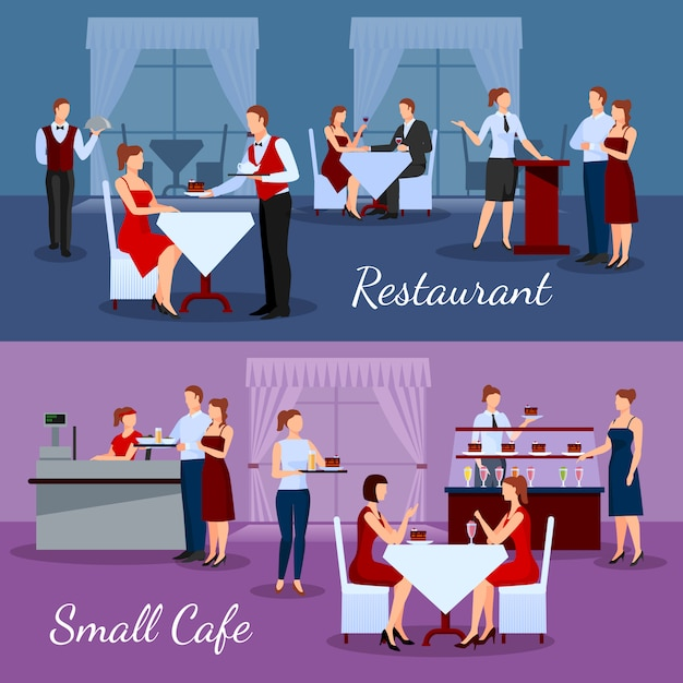 Catering compositions set with restaurant and small cafe symbols Free Vector