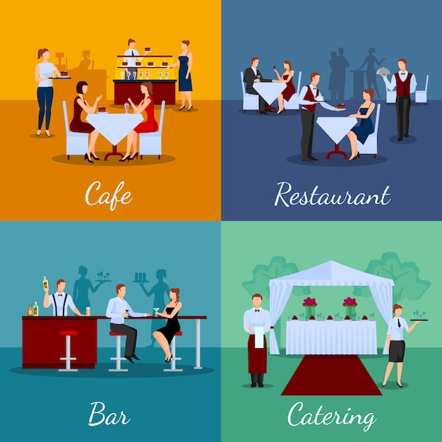 Catering concept vector image set with cafe and bar symbols Free Vector