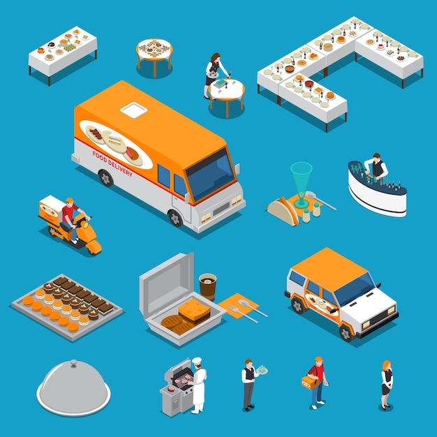 Catering isometric s set Free Vector