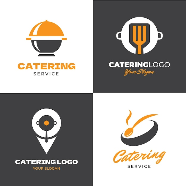 Catering logo template collection Free Vector