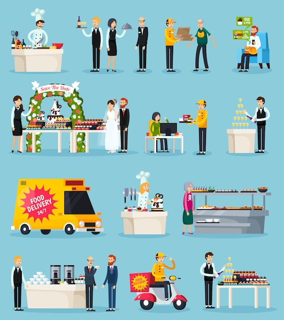 Catering orthogonal flat elements set Free Vector