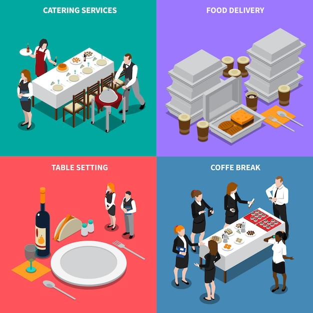 Catering services isometric illustration Free Vector
