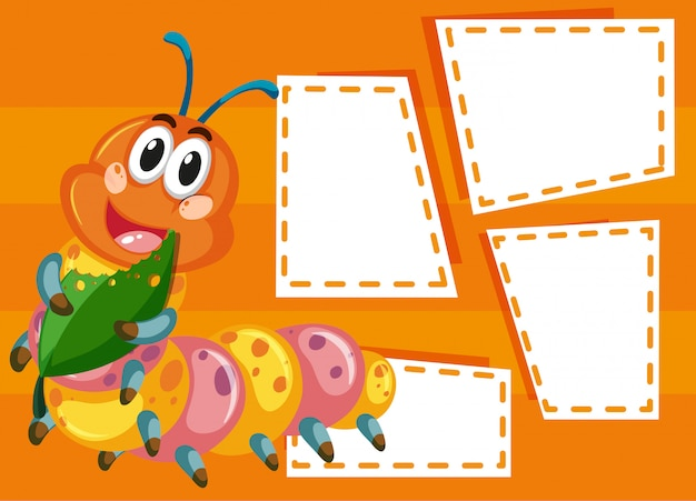 A caterpillar blank on note with copyspace Free Vector