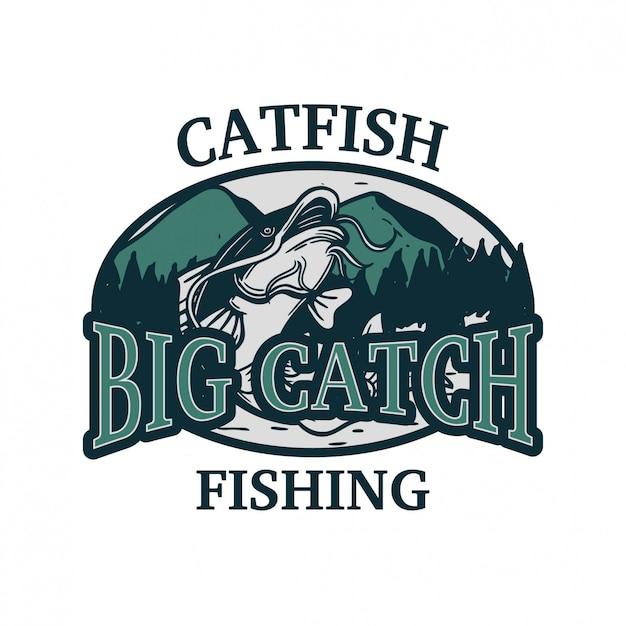 ナマズの大漁釣りのロゴ Premiumベクター